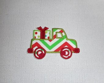 Free Shipping Ready to Ship Christmas Tree   Truck  Machine embroidery  iron on applique