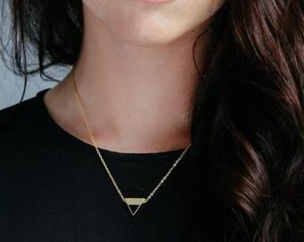 Gold Geometric Triangle Enamel Pendant Everyday Minimalist Necklace