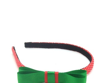 Christmas Headband with Bow - Red and White Polka Dot Headband with Green and Red Bow - Little Girl, Big Girl Bow Headband - Christmas Bow