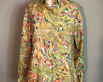 Vintage 60s 70s Psychedelic Groovy Melted Wax Floral Print - Long Sleeve Button Down - Unisex - Medium / Large