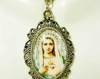 Immaculate heart of Mary pendant with chain - AP04-135