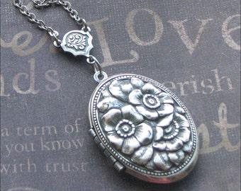 Silver Locket Necklace - Enchanted Romantic Rose - Handmade by TheEnchantedLocket