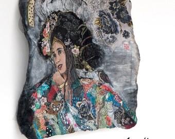 Original Fiber Art 56x56 - Colorful Woman Portrait - Fine Art - Wallhanging Mixte Media Textile Painting