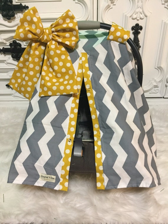 CAR SEAT COVER / carseat canopy / nursing cover / girl / carseat cover / car seat canopy / infant car seat cover / gray / mustard / bow