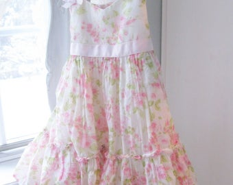 Vintage Gorgeous Childs Dress - Girls Size 2T - Toddler Dress with Roses - Pink Roses - Childs Clothing - Flower Girl Dress