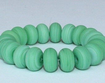 "SALE ! 33% Off ! Handmade Lampwork Beads, 20 Pieces ""Matte Streaky Sea-Green"", Size about 9.1 to 9.6 mm"