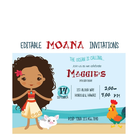 moana editable instant download birthday invitation editable pdf