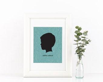 Custom Silhouette Profile Portrait 8x10, Personalized Profile Print, Custom Mother's Day gift, child art, modern silhouettes, head profile