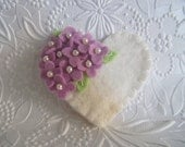 Felt Flower Brooch Pin Purple  Heart Beaded Flowers Valentines Day Mom