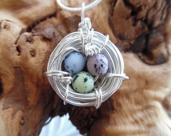 Mothers Day Birds Nest Necklace Jewelry Pendant Mom Silver Bird Grandmother Charm