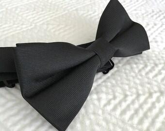 Vintage Black Bow Tie, Black Bow Tie, Bow Tie, Tuxedo, Vintage Bow Tie, Suit Tie, Black Tie, Adjustable Tie, Adjustable Bow Tie, Clip-on Tie