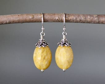 Jade Earrings - Yellow Jade - Bali Silver Earrings - Yellow Gemstones - Oval Stone Earrings - Wire Wrapped Earrings - Everyday Jewelry