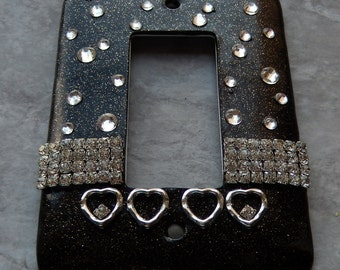 Black & Bling, polymer clay light switch cover, rocker style, hearts, rhinestones, black glitter clay