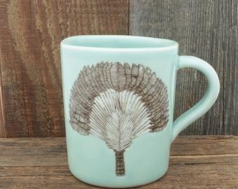 Large Celadon Traveler's Tree Mug. 12 oz Palm Tree Coffee Cup. Handmade Porcelain High Fired Mug, Celadon Pottery by SKT Ceramics on Etsy