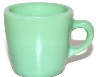 Vintage 1940s FIRE KING JADITE Oven Ware Restaurant G215 Coffee Mug Cup Green
