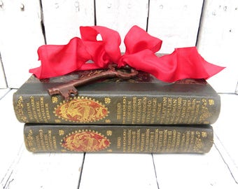 Green Books, Vintage Books, Old Book Decor, Antique Books, Home Office Decor, Instant Library, Shakespeare Books, Shabby Cottage Chic