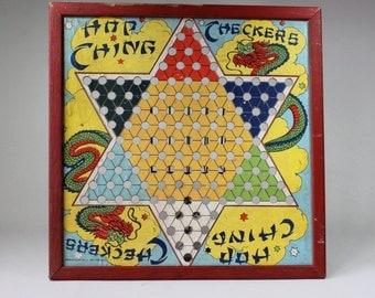 Vintage Chinese Checkers Game Board Hop Ching Asian Dragons Retro Asian Decor Wall Hanging J. Pressman CO NY 1950s