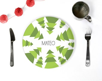 Christmas Trees Unique Personalized Plate Kids Gift Holiday Table Decor Custom Dinnerware Sets Plate and Cup Christmas Plate Melamine