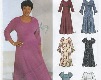 Princess Seam Dress Sewing Pattern Plus Size 18W 20W 22W 24W Simplicity 5767 UNCUT Back Zipper, Sweetheart Neckline, Sleeve Flounce