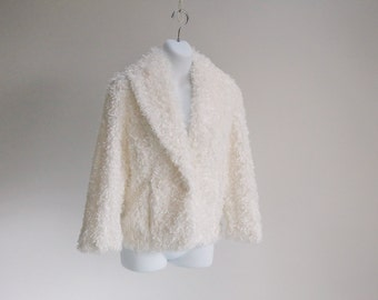 Classic Shawl Collar Fur Jacket - Sz M