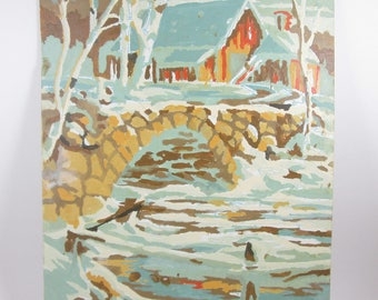 Vintage Paint by Number Barn Bridge Snow Winter Scenes Craft House Unfinished PBN Unframed Painting