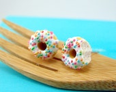 Food Jewelry // Donut Earrings with Rainbow Sprinkles Vanilla Bean Icing // MADE TO ORDER // Post or Clip On Earrings
