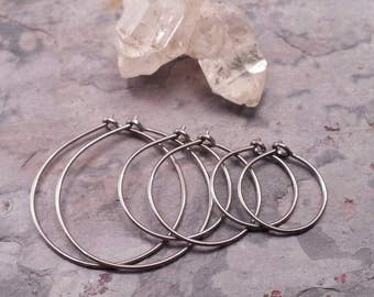 Silky Smooth Titanium Hoop Earrings. Pure Titanium Earrings for Sensitive Ears. Hypoallergenic for Metal Allergies. Choose Size & Wire Gauge
