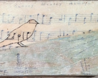 Original Mixed Media Encaustic Painting on Wood Panel by Janet Nechama Miller - Sunday, Monday, Always - Small Bird and Sheet Music Art