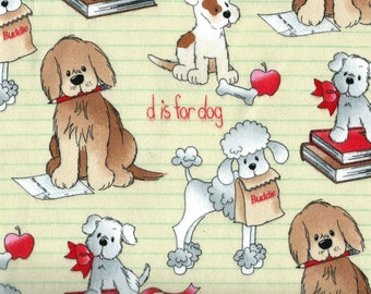 """SCHOOL DOGS on Cream Background Flannel Fabric, 1 yard x 42"""" inches wide.  Brand new."""