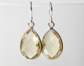 Lemon Quartz Earrings - Sterling Silver Bezel Set Drop Earrings Faceted Lemon Quartz Stones Pear Cut Dangle Earrings