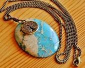 SALE - Sediment Jasper gemstone pendant necklace big chunky bold large stone bohemian karma family tree of life charm extra long jewelry