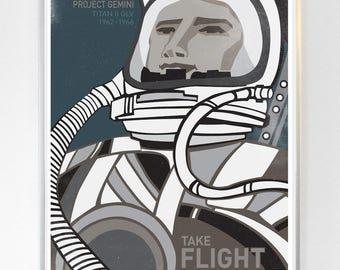 Gemini Titan II GLV Take Flight Astronaut, Science Poster Art Print, NASA art, Stellar Science Series™