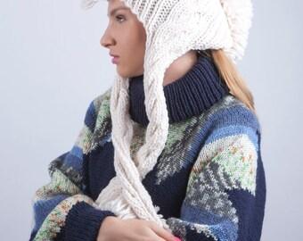Men's winter hat, Roman legionary beanie, Punk crochet hat, Mohawk knitted hat, White black hat, slouchy hat, gift for her, Christmas gift