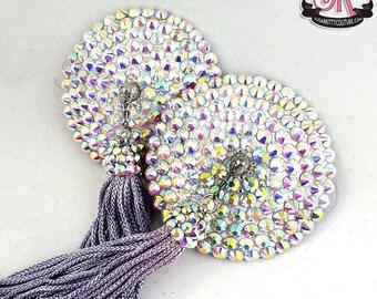 Round Rhinestone QuickChange Tassels Nipple Pasties - SugarKitty Couture
