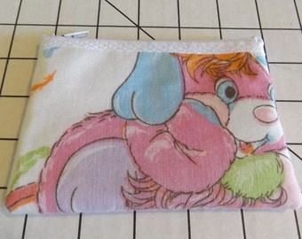 Popples Fabric  Coin Purse--Vintage-   PJ- Party- Puffball- Pancake  American Greetings