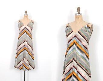 Vintage 1970s Dress / 70s Printed Tent Dress / Striped ( S M )