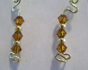Gold EarPin Earrings with Orange Crystals
