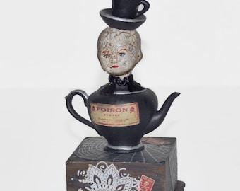 Altered Art Assemblage Doll - Mixed Media Art Doll - Creepy Doll Art - Gothic Art Doll - Teapot Teacup Doll Art - Dark Assemblage Art