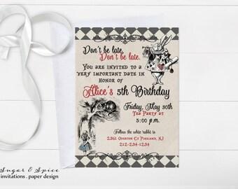 Alice in Wonderland Invitation, Birthday Invitations, Kids Birthday Invitation, Alice Birthday Invitation, Teen Birthday