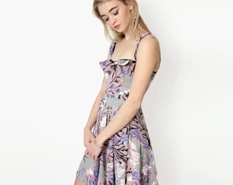 Dusty Rose 'Wandering Floral' Flutter top Twirling Dress - Organic Cotton - Floral Dress - Hand Printed -Slow Fashion -Thief and Bandit®