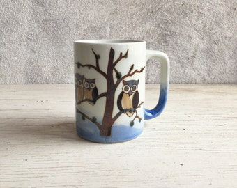 Vintage stoneware owl in trees mug, horned owl coffee cup in blue earthtone, glazed pottery mug, gift for horned owl lover, owl mug, owl cup
