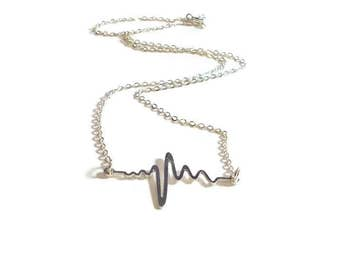 Silver Heartbeat Necklace, Heart Beat Necklace, Simple Necklace, 16 inch Necklace, Jewelry for Teen, EKG Necklace, Delicate Necklace