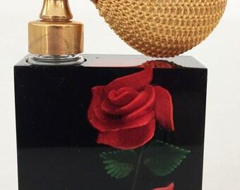 Vintage 60s Harbud Red Rose Lucite Perfume Bottle Atomiser