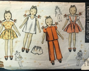 "DuBarry 1940's Rag Doll Pattern # 5972 - Over 20"" Tall - With Wardrobe & Embroidery Transfer - Printed 1944"