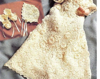 Irish Rose Christening Gown, Bonnet and Booties 0 to 6 months
