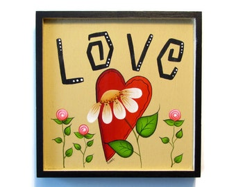 Love, Heart, Daisy Framed Plaque, Handpainted Wood, Hand Painted Valentine's Day Home Decor, Wall Art, Tole Decorative Painting, B3