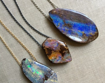 Opal Necklace, Design Your Own Opal Pendant, Australian Boulder Opal Jewelry, Gifts For Her, Boho Jewelry