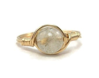 Med Lodolite Quartz 14k Yellow Gold Fill Wire Wrapped Ring