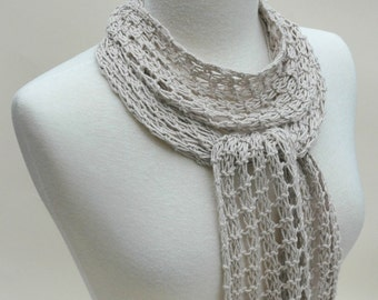 Organic Cotton Scarf- Hand Knit/ Beige/ Wheat