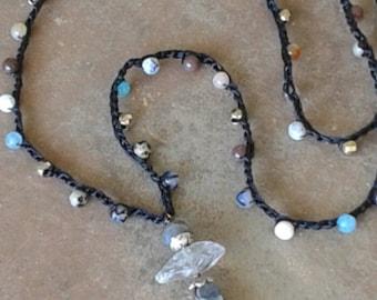 SALE! Boho crochet, Tibetan bead, long crocheted necklace, hippie chic, beach girl